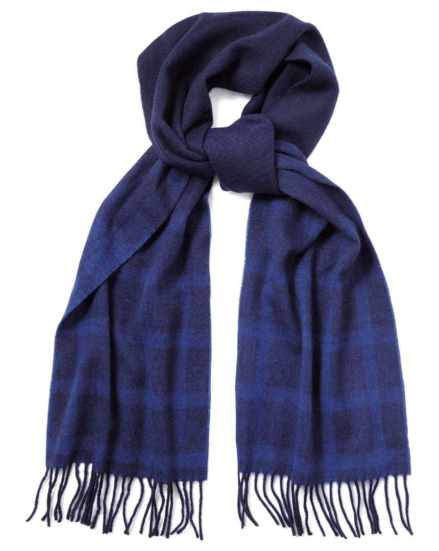 Schal aus Lammwolle mit abgestuftem Karomuster in Marineblau