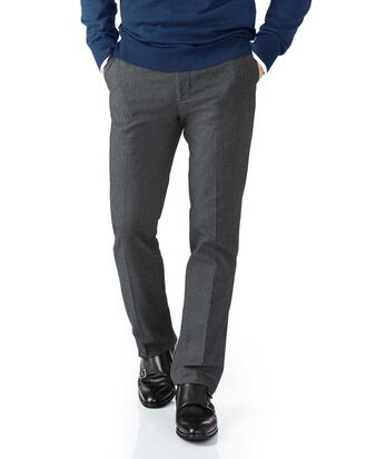 Charcoal classic fit cotton flannel puppytooth pants