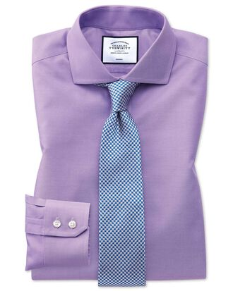 Slim fit non-iron cutaway collar lilac twill shirt