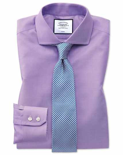 Slim fit lilac non-iron twill spread collar shirt