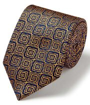 Gold and navy square geometric English vluxury tie