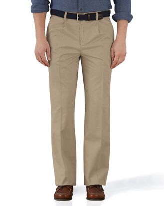 Stone classic fit single pleat washed chinos