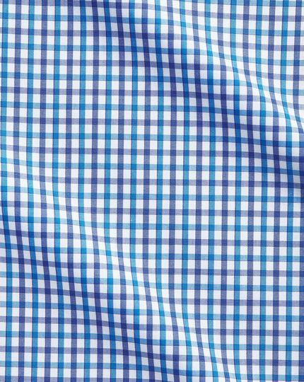 Extra slim fit two color check blue shirt