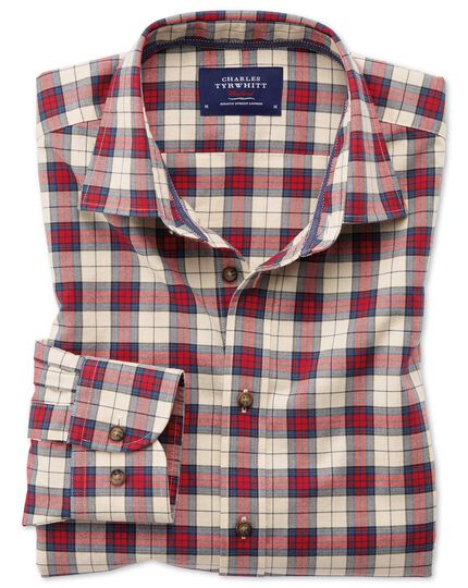 Slim fit heather tartan red check shirt