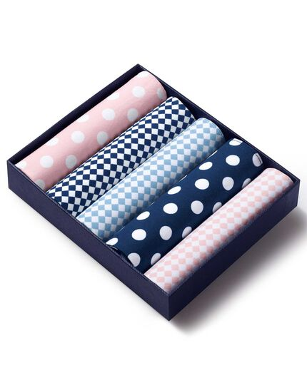 Pink, white and sky handkerchief box set