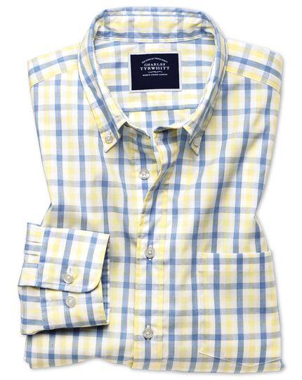 Chemise Tyrwhitt Cool jaune et bleue coupe droite à carreaux vichy et délavage doux sans repassage