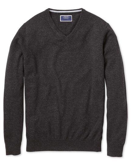 Charcoal v-neck cashmere jumper