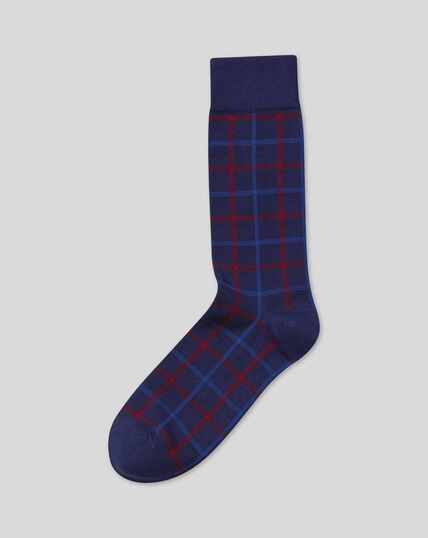 Check Patterned Socks - Navy & Red