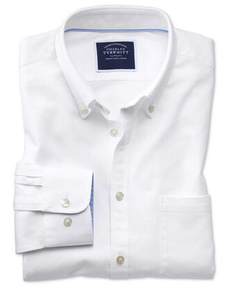 Classic fit button-down washed Oxford plain white shirt