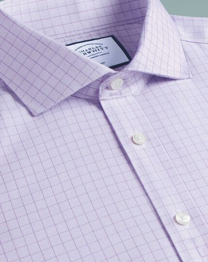 Extra slim fit cutaway collar non-iron soft twill lilac check shirt