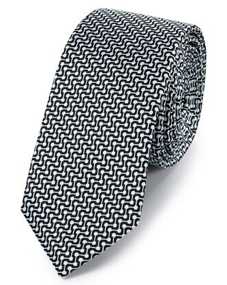 Black and white silk slim geometric classic tie