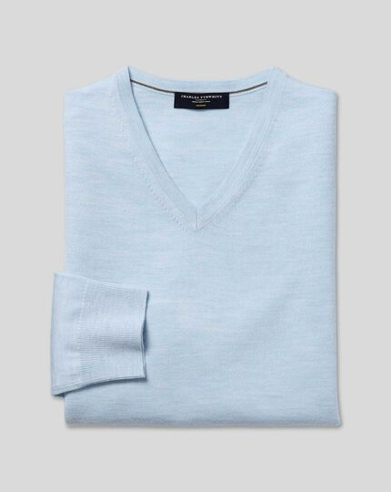 Merino V-Neck Jumper - Sky