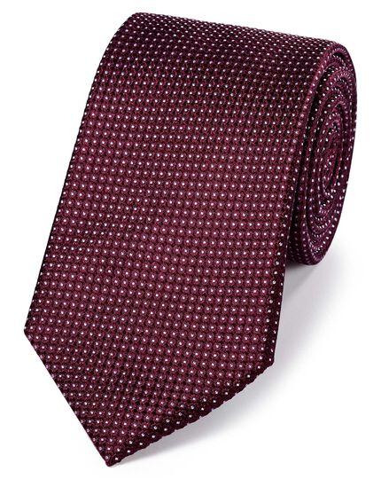 Klassische Krawatte aus Seide mit Nadelpunkten in Faux-Uni Burgunderrot