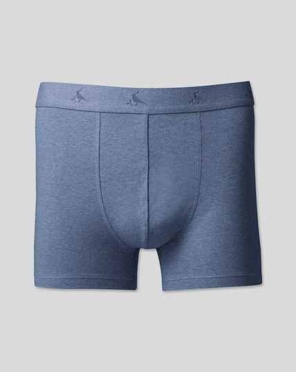 3 Pack Cotton Stretch Jersey Trunks - Blue