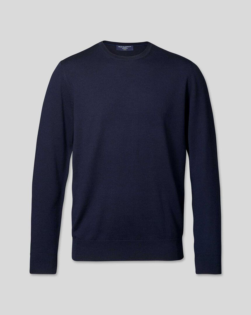 Merino Crew Neck Jumper - Navy