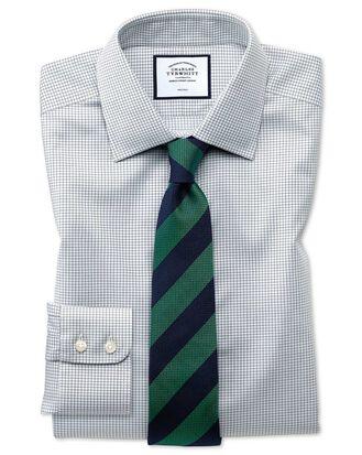 Slim fit non-iron twill mini grid check grey shirt