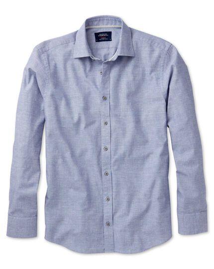 Slim fit slub cotton blue shirt