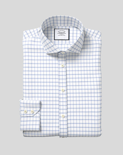 Cutaway Collar Cotton Stretch with TENCEL™ Check Shirt - Blue