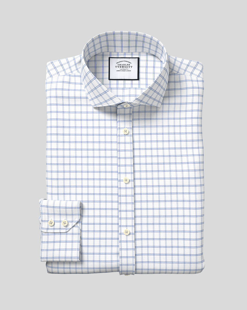 Spread Collar Cotton Stretch with TENCEL™ Check Shirt - Blue