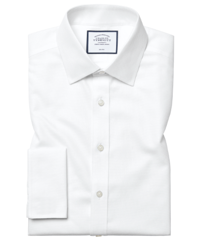 Slim fit non-iron dash weave white shirt