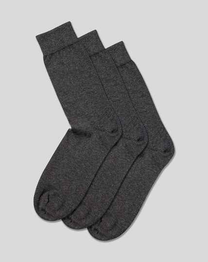 Cotton Rich 3 Pack Socks - Grey