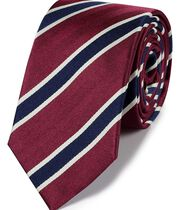 Red and navy silk traditional stripe classic tie
