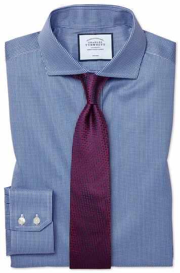 Slim fit non-iron cutaway royal blue puppytooth shirt
