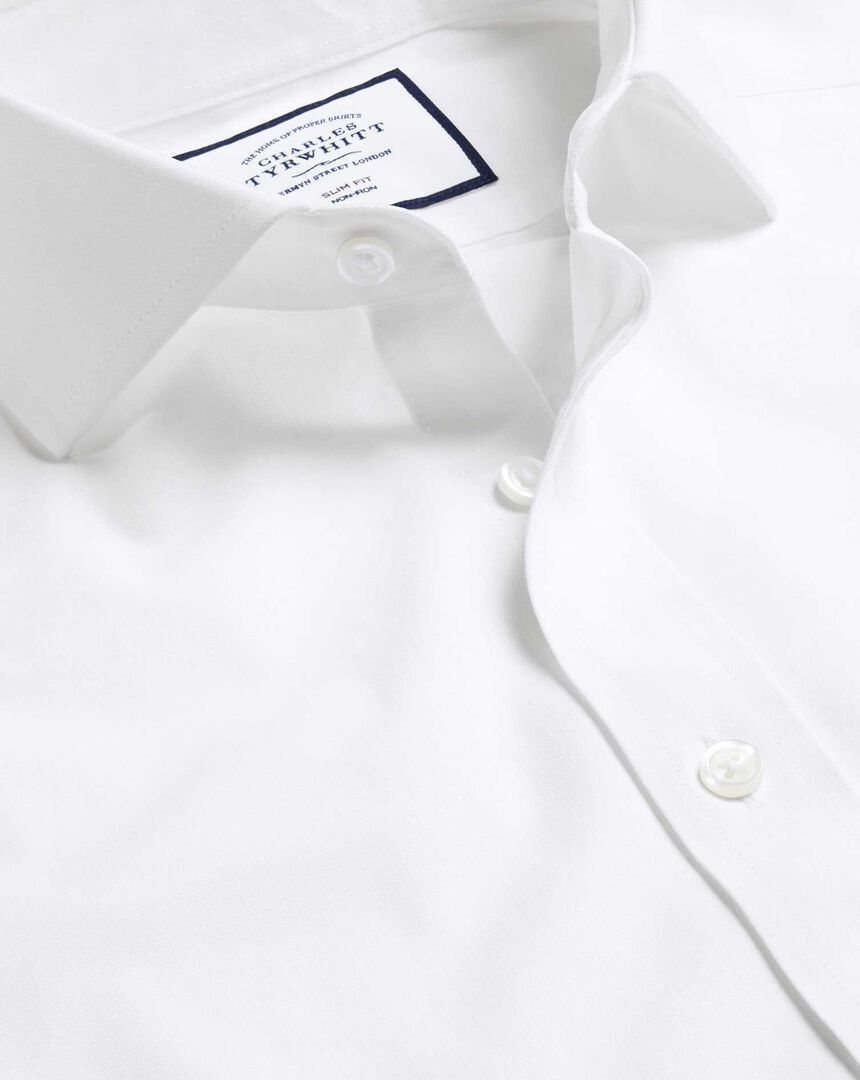 Cutaway Collar Non-Iron 4 Way Stretch Shirt - White