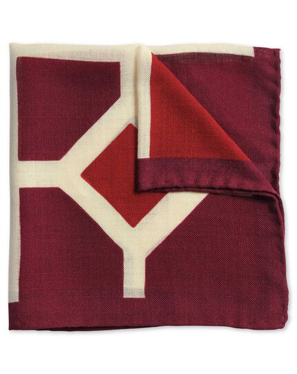 Red and burgundy luxury Italian print pocket square