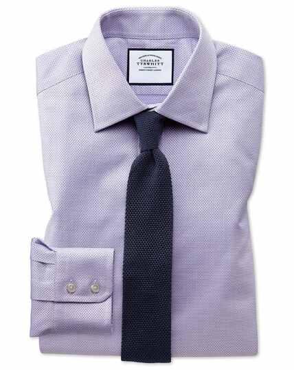Chemise lilas en coton égyptien avec armure à carrés extra slim fit