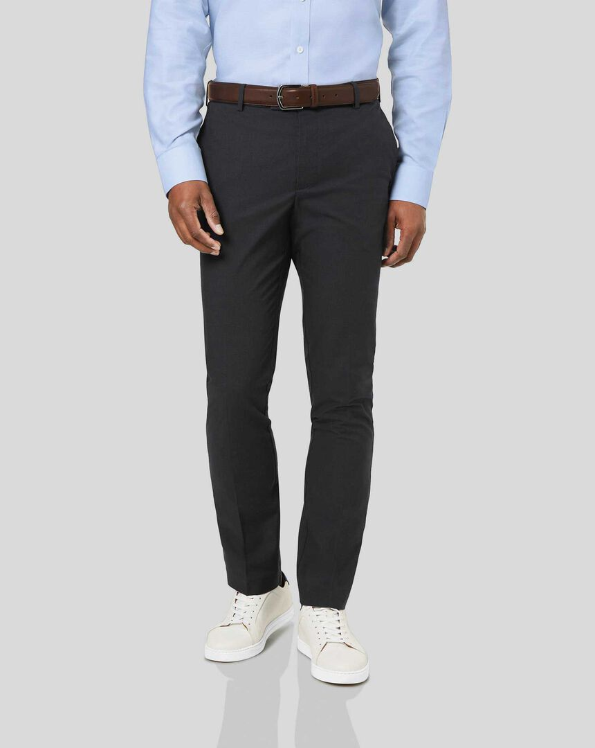 Non-Iron Dobby Stretch Trousers - Charcoal