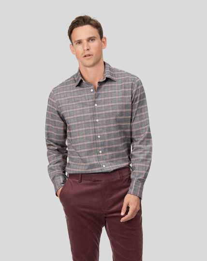 Cotton With Tencel™ Prince Of Wales Check Shirt - Orange And Grey