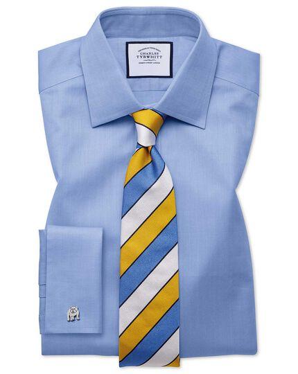 Englische Luxuskrawatte mit strukturierten Streifen in Gelb & Himmelblau