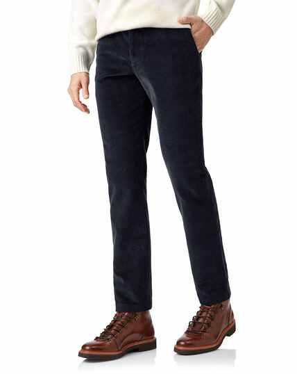 Navy jumbo cord trousers