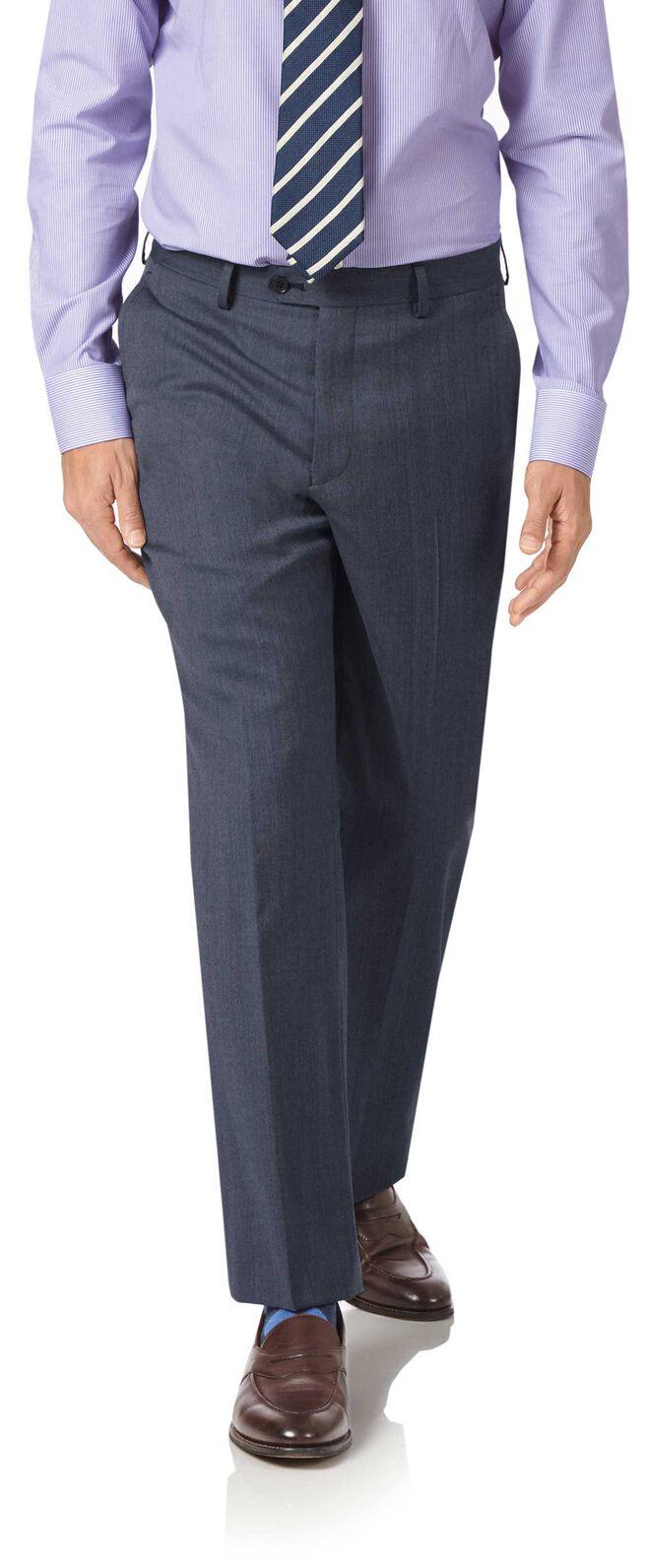 Light blue classic fit twill business suit