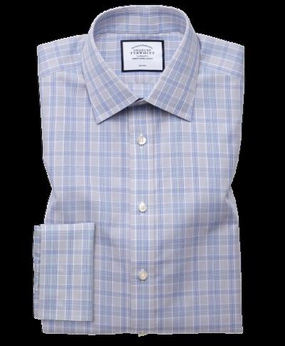 Slim fit non-iron Prince of Wales grey and aqua shirt