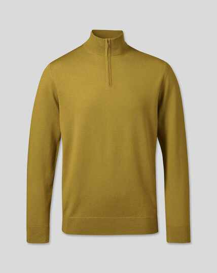 Merino Zip Neck Jumper - Chartreuse