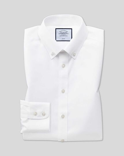 Extra slim fit white button-down collar non-iron twill shirt