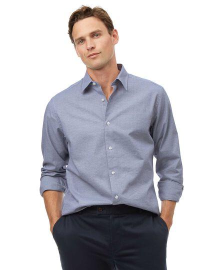 Ganzjährig tragbares Classic Fit Hemd aus Strukturgewebe in Blau