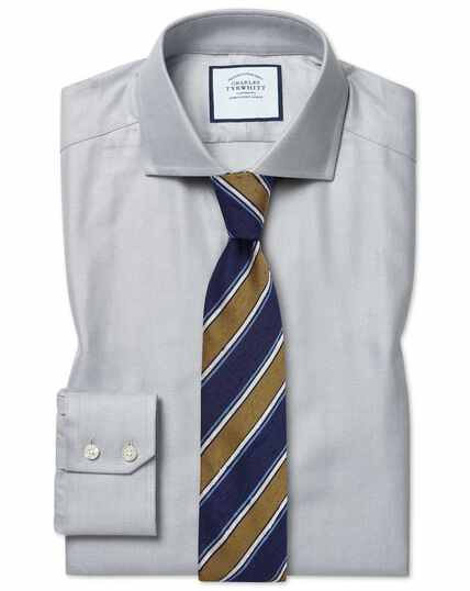 Extra slim fit cutaway collar cotton stretch with TENCEL™ grey shirt