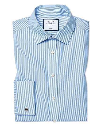 Classic fit non-iron sky blue Bengal stripe shirt