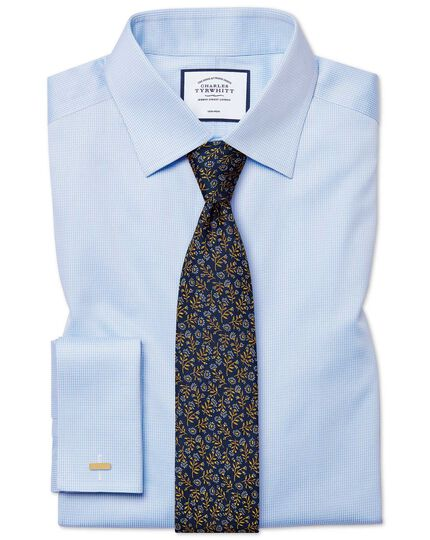 Classic fit non-iron sky blue puppytooth shirt
