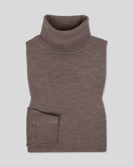 Merino Roll Neck Sweater - Mocha