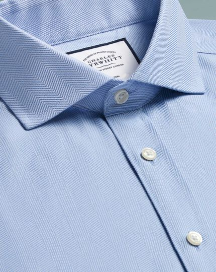 Extra slim fit non-iron sky blue herringbone shirt
