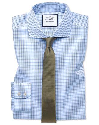 Extra slim fit cutaway non-iron poplin blue and sky blue shirt