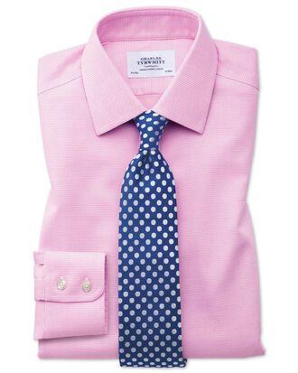 Chemise rose à tissage carré extra slim fit sans repassage