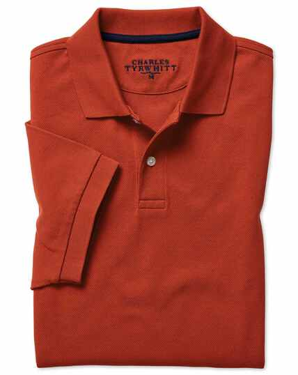 Burnt orange cotton pique polo