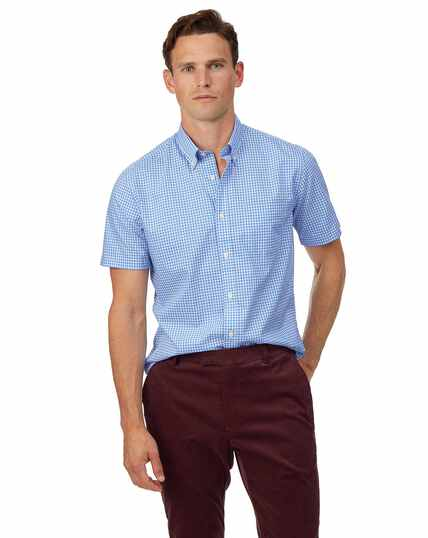 Chemise à manches courtes en popeline stretch soft washed bleu ciel à carreaux vichy slim fit sans repassage