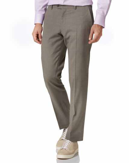 Natural puppytooth slim fit Panama business suit trouser