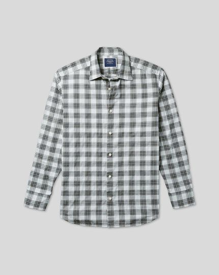 Classic Collar Crinkly Check Shirt - Grey